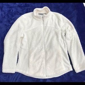 Jason Maxwell Plush Zip Up White Jacket Size XL